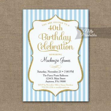 Light Blue Gold Birthday Invitations Elegant Stripes PRINTED