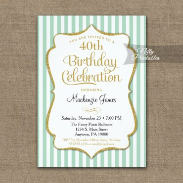 Mint Green Gold Birthday Invitation Elegant Stripes PRINTED