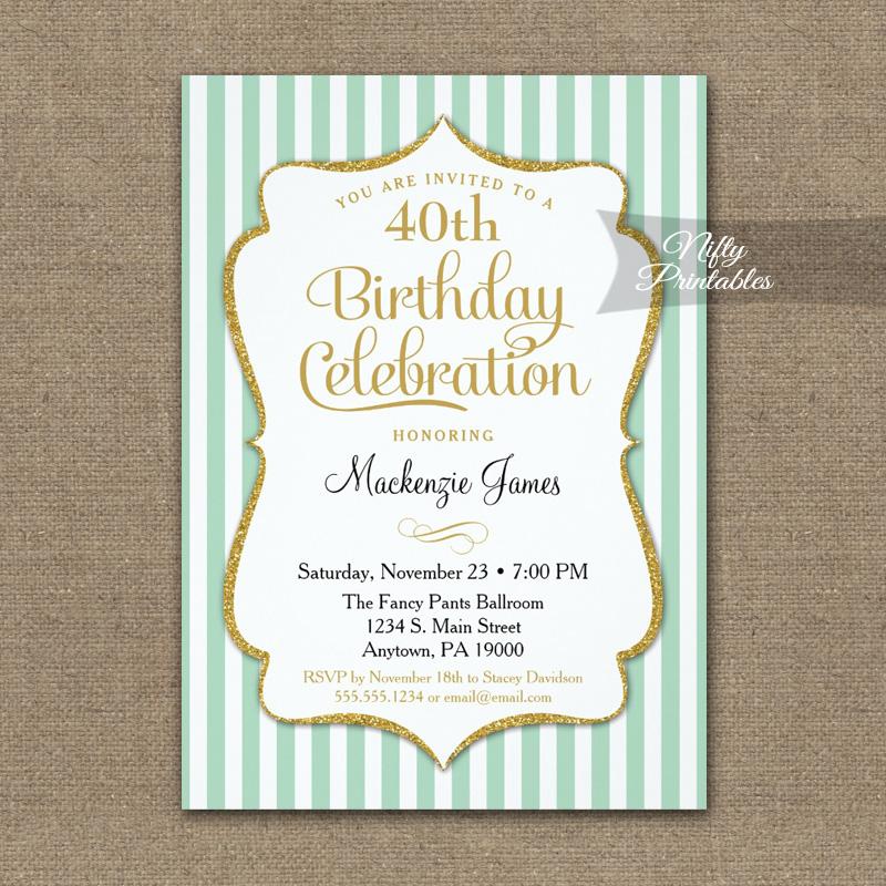 Mint Green Gold Birthday Invitation Elegant Stripes PRINTED