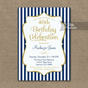 Navy Blue Gold Birthday Invitation Elegant Stripes PRINTED