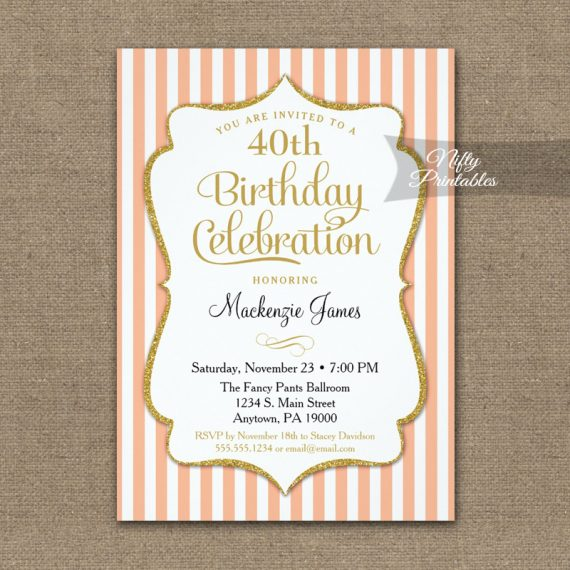 Peach Gold Birthday Invitation Elegant Stripes PRINTED