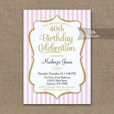 Pink Gold Birthday Invitations Elegant Stripes PRINTED