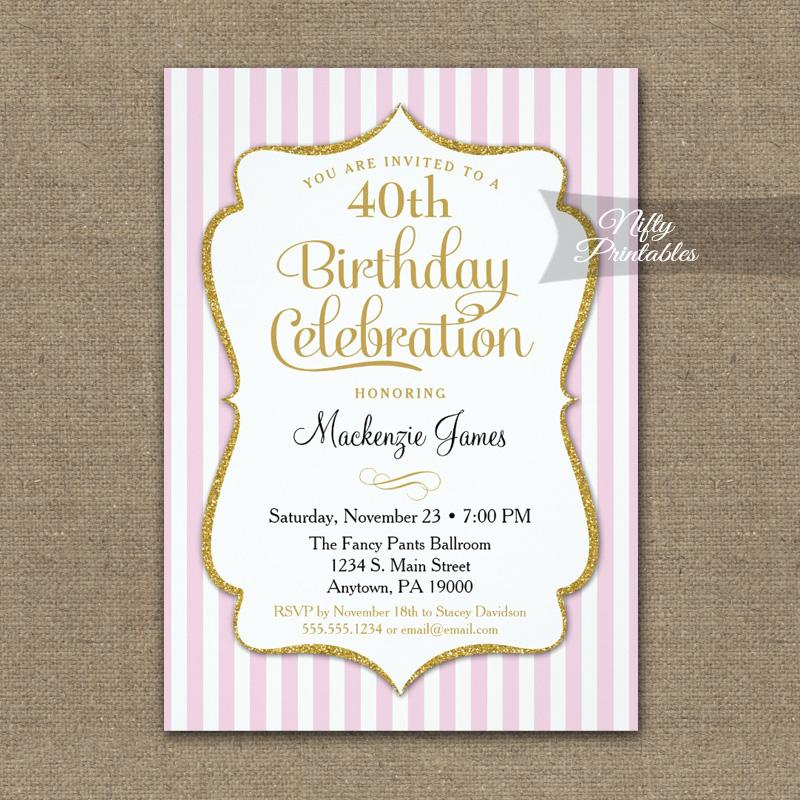 Pink gold birthday invitation elegant stripes printed nifty printables pink gold birthday invitation elegant stripes printed filmwisefo