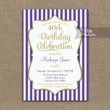 Purple Gold Birthday Invitation Elegant Stripes PRINTED