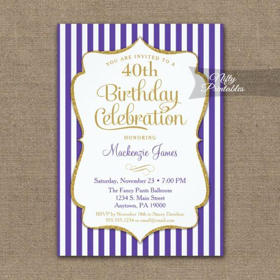 Purple Gold Birthday Invitation Elegant Stripes PRINTED