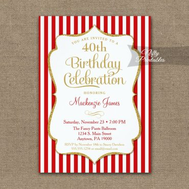 Red Gold Birthday Invitation Elegant Stripes PRINTED