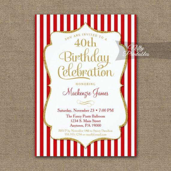Red Gold Birthday Invitation Elegant Stripes PRINTED