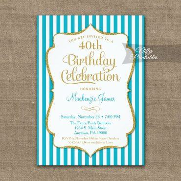 Turquoise Aqua Gold Birthday Invitation Elegant Stripes PRINTED