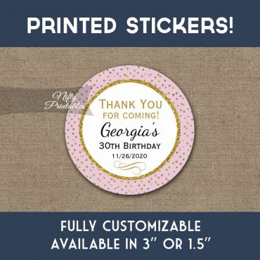 Birthday Stickers Pink Dot Gold Thank You Favors PRINTED
