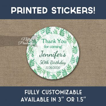 Birthday Stickers Green Leaves Nature Thank You Favors PRINTED