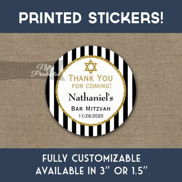 Bar Mitzvah Stickers Black Gold Thank You Favors PRINTED