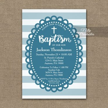 Baptism Invitation Blue Wide Stripe PRINTED