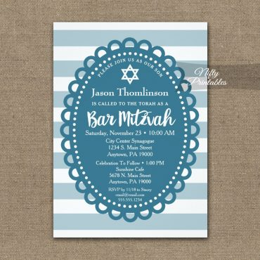 Bar Mitzvah Invitation Blue Wide Stripe PRINTED