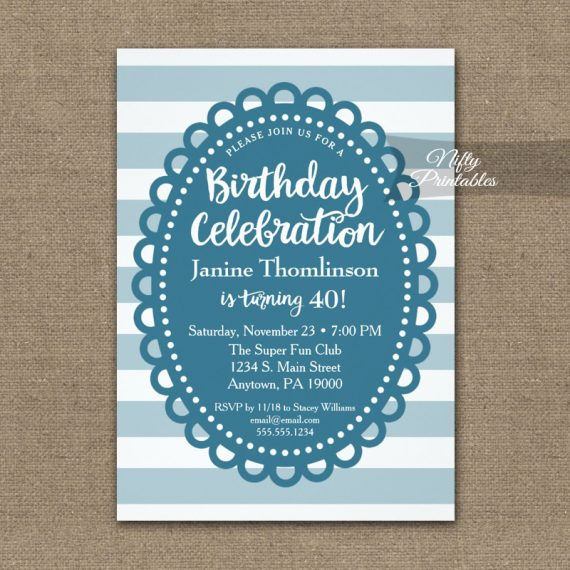 Birthday Invitation Blue Wide Stripe PRINTED