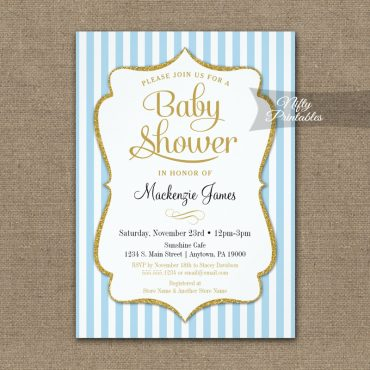 Blue Gold Baby Shower Invitations Elegant Stripe PRINTED
