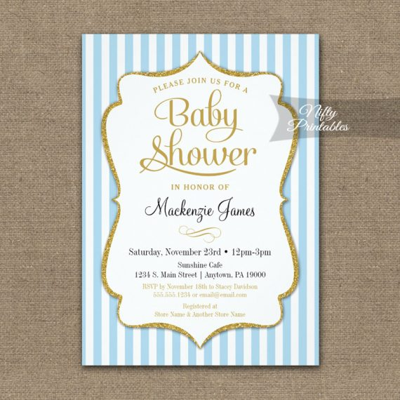 Blue Gold Baby Shower Invitation Elegant Stripe PRINTED