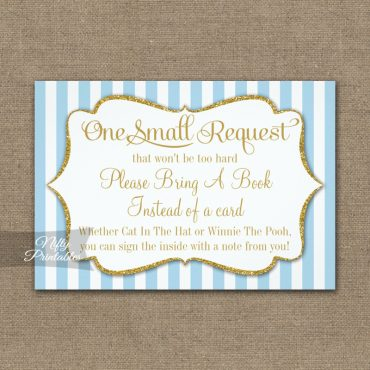 Bring A Book Insert Blue Gold Baby Shower PRINTED