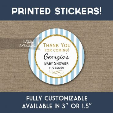 Baby Shower Stickers Blue Gold Thank You Favors PRINTED