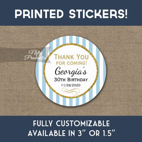 Birthday Stickers Pastel Blue Gold Thank You Favors PRINTED