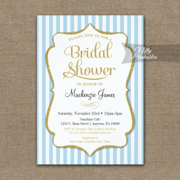Bridal Shower Invitation Blue Gold PRINTED