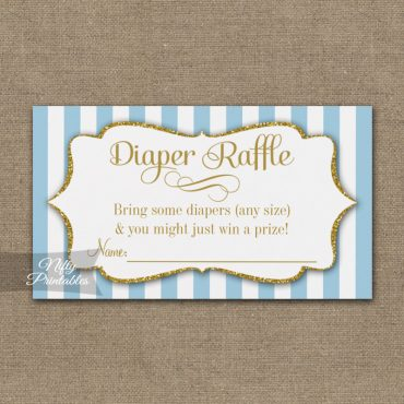 Diaper Raffle Blue Gold Baby Shower PRINTED