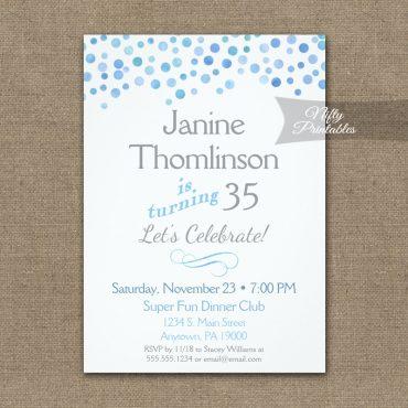 Birthday Invitation Confetti Blue Gray PRINTED