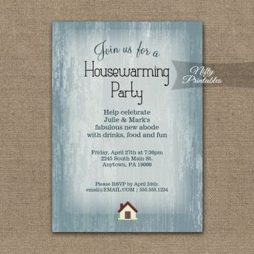 Housewarming Invitation Blue Wood Rustic PRINTED