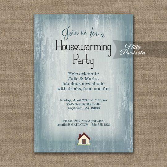 Housewarming Invitations Blue Wood Rustic PRINTED