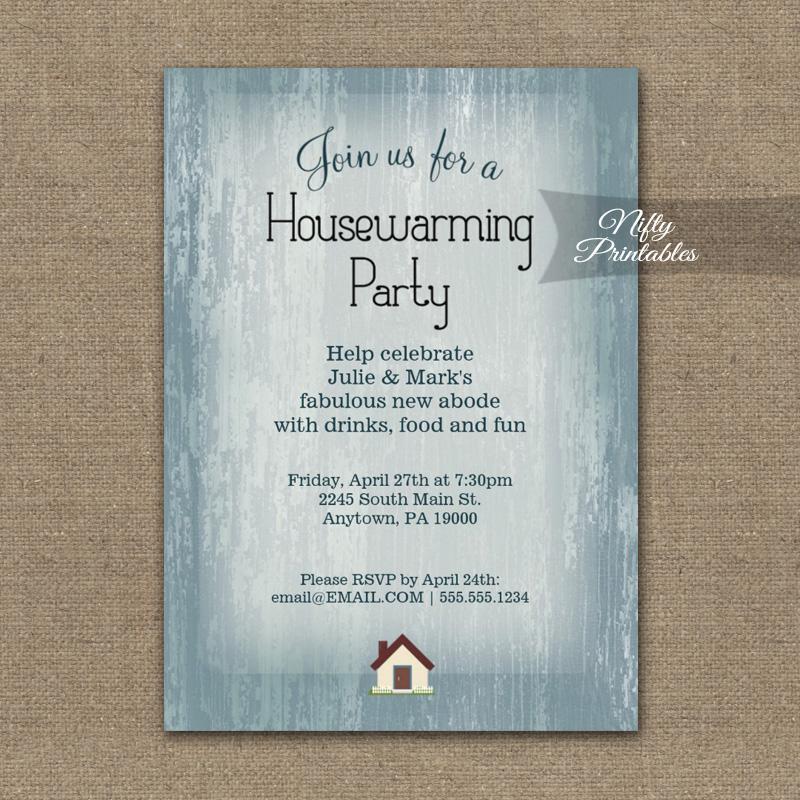 Housewarming Invitation Blue Wood Rustic PRINTED