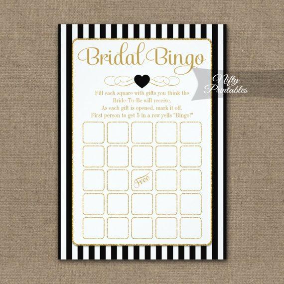 Bridal Bingo Game Black Gold PRINTED