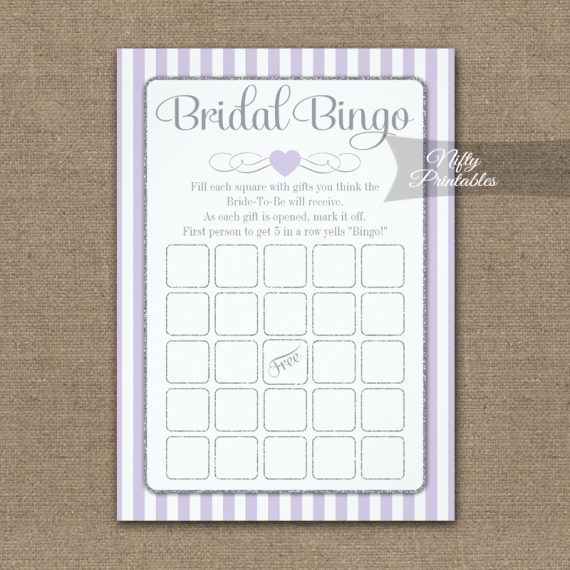 Bridal Bingo Game Lilac Lavender Gray PRINTED