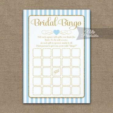 bridal bingo game light blue gold printed printed item bridal shower