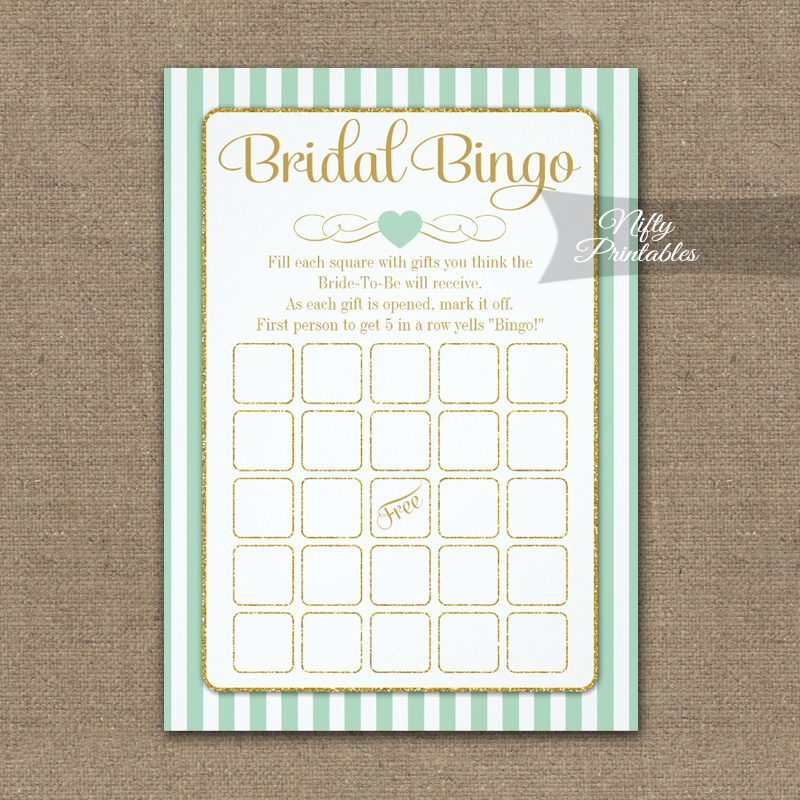 Bridal Bingo Game Mint Green Gold PRINTED