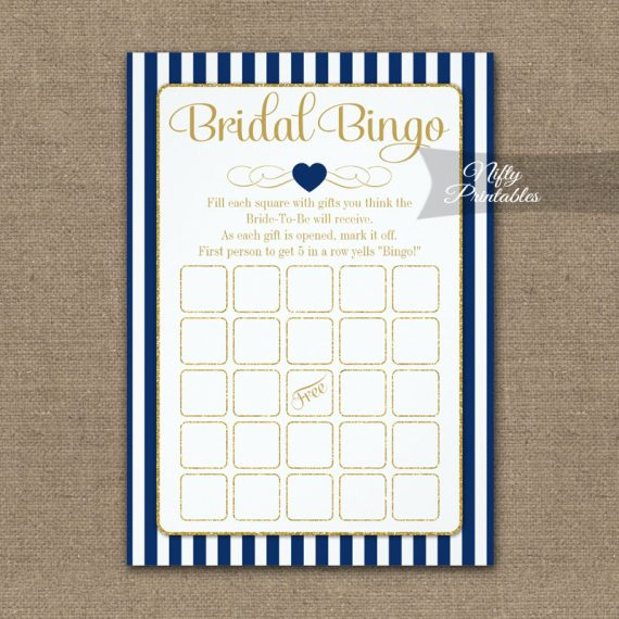 Bridal Bingo Game Navy Blue Gold PRINTED