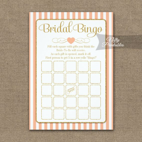 Bridal Bingo Game Peach Gold PRINTED