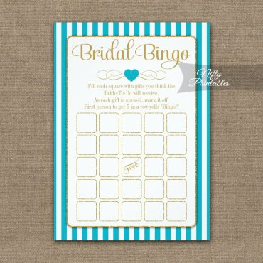 Bridal Bingo Game Turquoise Gold PRINTED