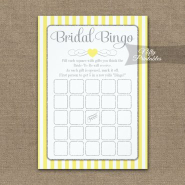Bridal Bingo Game Yellow Gray PRINTED