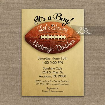 Football Baby Shower Invitation Vintage Boy Sports PRINTED