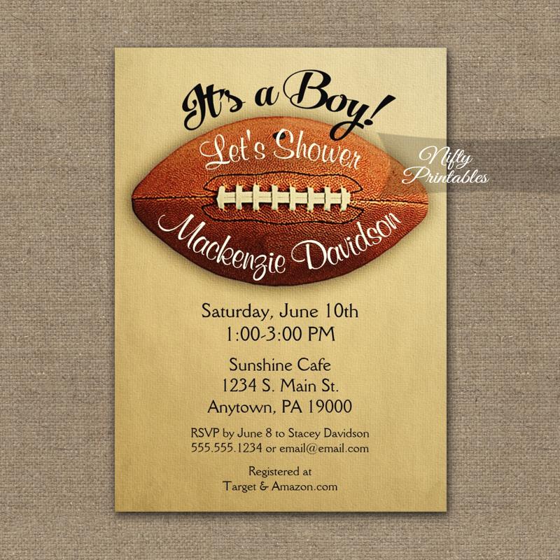 Football Baby Shower Invitation Vintage Boy Sports PRINTED