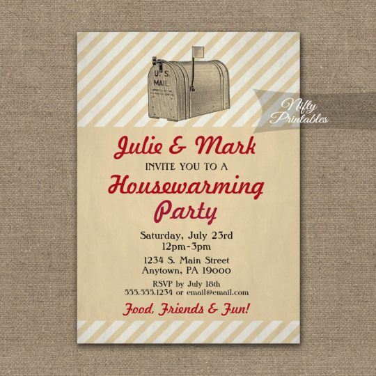 Housewarming Invitations Vintage Mailbox PRINTED