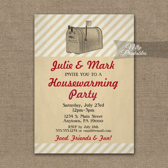 Housewarming Invitation Vintage Mailbox PRINTED