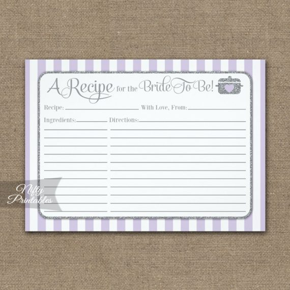 Bridal Recipe Cards Lilac Lavender Gray PRINTED