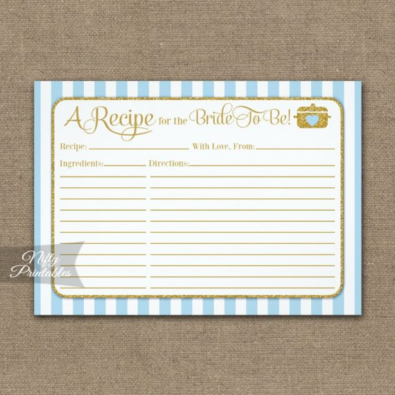 Bridal Recipe Cards Light Blue Gold PRINTED