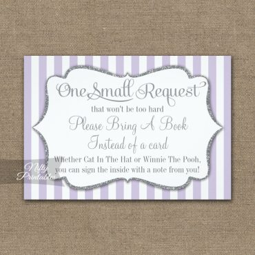 Bring A Book Insert Lilac Lavender Gray Silver Baby Shower PRINTED