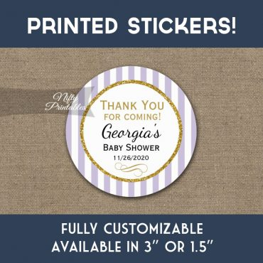 Baby Shower Stickers Lilac Lavender Gold Thank You Favors PRINTED