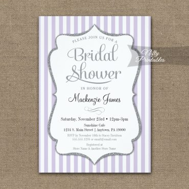 Lilac Gray Bridal Shower Invitation Lavender Elegant Stripe PRINTED
