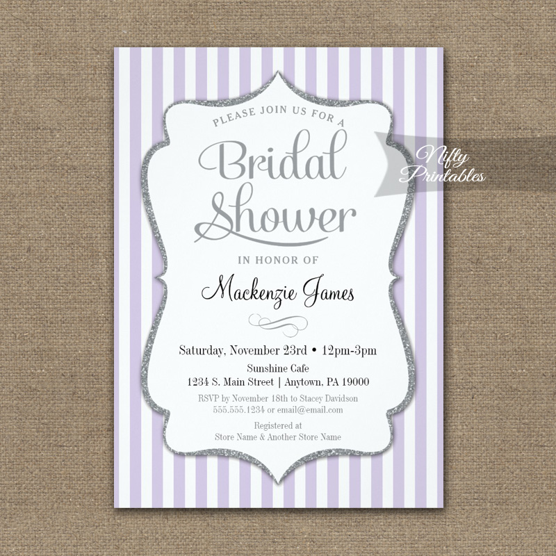 Lilac Gray Bridal Shower Invitation Lavender Elegant Stripe PRINTED