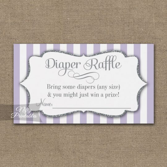 Diaper Raffle Lilac Lavender Gray Silver Baby Shower PRINTED