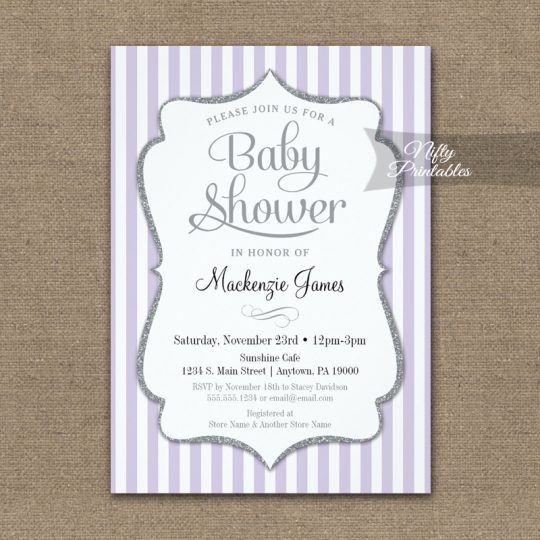 Lilac Gray Baby Shower Invitations Lavender Elegant Stripe PRINTED