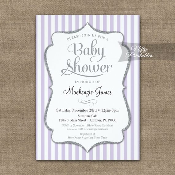 Lilac Gray Baby Shower Invitation Lavender Elegant Stripe PRINTED